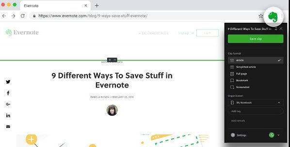 Evernote Web Clipper Chrome extensions