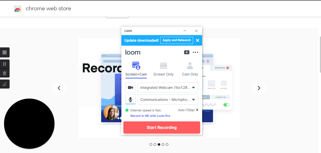 Loom - Video Recorder: Screen, webcam, and mic.